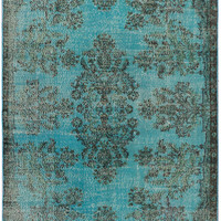"5'6"" x 9'3"" Turquoise Vintage Turkish Overdyed Rug"