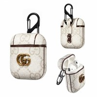 White GUCCI AirPods Case Cover Bluetooth Wireless Earphone Protector