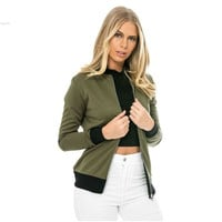 Women Fashion Retro Long Sleeve Zip Up Solid Bomber Jacket with Pockets