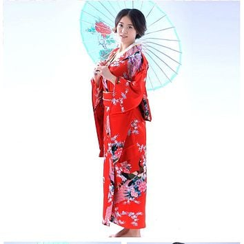 Fashion National Trends Women  Kimono Yukata With Obi Novelty Evening Dress Japanese Cosplay Costume Floral
