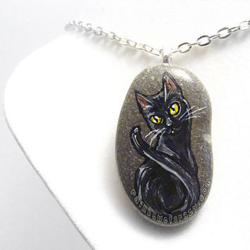 Black Cat Necklace, Pet Pendant, Halloween Accessory, Hand Painted Rock, Beach Stone, Pet Owner Gift, Pet Memorial Jewelry