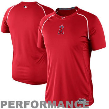 Nike Los Angeles Angels of Anaheim Pro Combat Core Raglan Performance T-Shirt - Red