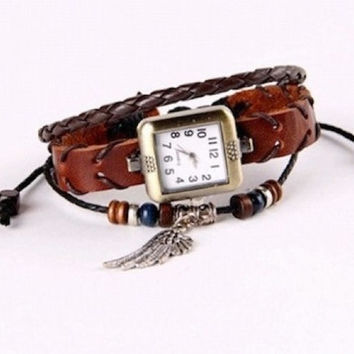 Leather Watch Bracelet Fashion Bracelet Quartz Movement Braclet Wrist Watch for Women Men New BST-264