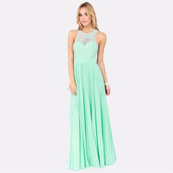 New  2016 Spring Mint Green Lace Long Bridesmaid Dresses Under 100 A Line For Weddings Formal vestido madrinha Cheap Gowns