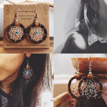 DE-01, FREE U.S SHIPPING,Chose your color,Native American inspired upcycled T-shirts yarn handmade dreamcatcher earrings