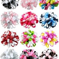 "Ship From USA--HipGirl Boutique Girls 12pc 2.5"" Loopy Puff Hair Bow Clips/Barrettes Combo"