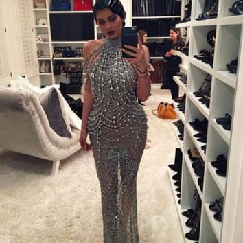 Luxury Unique 2016 MGS Silver Mermiad High Neck See Through Beaded BlingBling Sequined Evening Dresses Floor-Length Prom Gowns