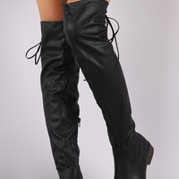 Vegan Leather Back Tie Over The Knee Boots