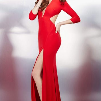 Red Long Sleeve Fitted Dress 28122