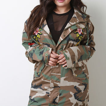 Floral Applique Camouflage Hooded Drawstring Jacket | UrbanOG