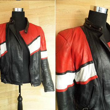 Vintage 80's Biker Jacket • Biker Jacket • Black Leather Biker Jacket • Red Leather • Punk Jacket • Motorcycle Jacket • White Leather