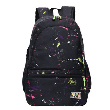 2016 Korean Canvas Printing Backpack Women School Bags for Teenage Girl Cute Bookbags Vintage Laptop Backpacks Female Travel Bag