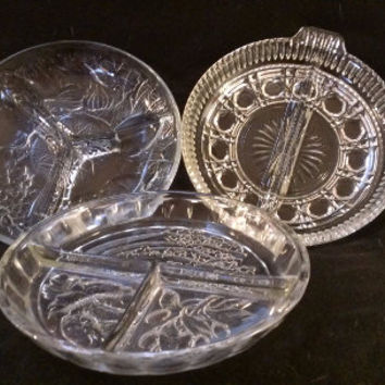 3 Pressed Glass Divided Serving Dishes  (731)