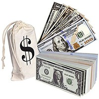 Playkidz Pretend Dollar Bills, Realistic Double Sided Money Stack, That Looks Real, Small Bills