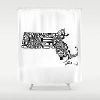 Typographic Massachusetts Shower Curtain by CAPow!