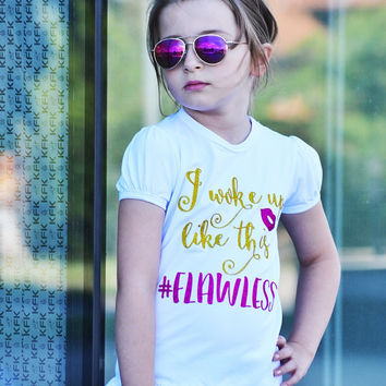 I Woke Up Like This Girls T-Shirt. Girls Clothing. Funny Girl Shirt. Glitter Outfit. Sparkle Shirt. Trendy Kids Clothes. Size 1 - 10 Years