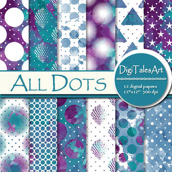 "Watercolor polka dot digital paper ""All Dots"" clipart paper pack, scrapbooking, watercolor background, star triangle dotted pattern"