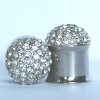 "Crystal Cluster Plugs 2G 0G 00G 7/16"" 6mm 8mm 10mm 11mm"