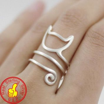 925 Sterling Silver Fashion Cat Ring