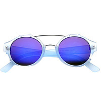 Colorful Retro Round P3 Mirror Lens Cross Bar Sunglasses 9648