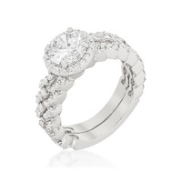 Kassidy Zig Zag Halo Engagement and Wedding Ring Set | 3.25 Carat | Cubic Zirconia