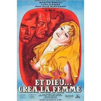 FRENCH movie poster AND GOD CREATED WOMAN brigitte bardot STAR ACTRESS 24X36