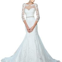 ZHUOLAN Ivory Mermaid Lace 3/4 Length Sleeves Wedding Dress 2