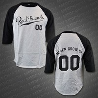 Never Grow Up Heather / Black Baseball Tee : FEAR : MerchNOW
