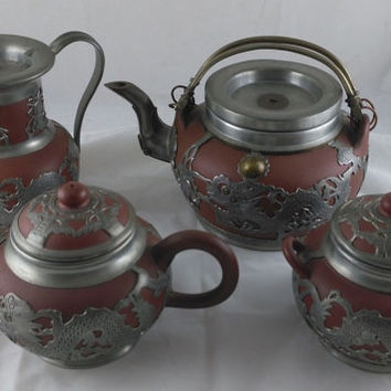 Antique Yixing Red Stoneware  4 Piece Tea Set With Pewter Dragon Overlay