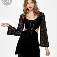 Cute Black Dress - Lace Dress - Long Sleeve Dress