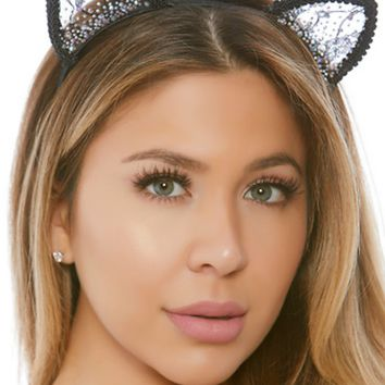 Lace and Pearls Kitty Cat Ear Headband
