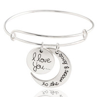 """I Love You To The Moon And Back"" Adjustable Bangle Bracelet"