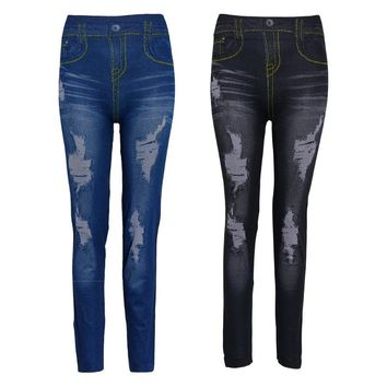 High Waist Faux Denim Stretch Pencil Pants Jeans Leggings