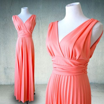 1970s Pink Coral Maxi Dress Grecian Goddess Style Gown