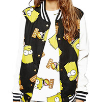 Black Simpsons Print Baseball Jacket