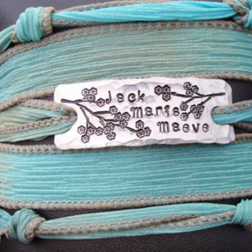 D2E Mothers Jewelry Hand dyed silk wrap bracelet with Hand stamped charm and magnetic clasp