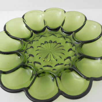 Green Glass Anchor Hocking Fairfield Deviled Egg Tray c 1970s