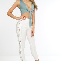 Polly Side-Laced Pants - White