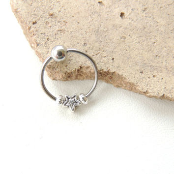Tiny Silver Star Cartilage Hoop Earring, 18 Gauge Captive Bead Ring, Tragus Piercing, Upper Ear CBR Captive Bead Ring. 613