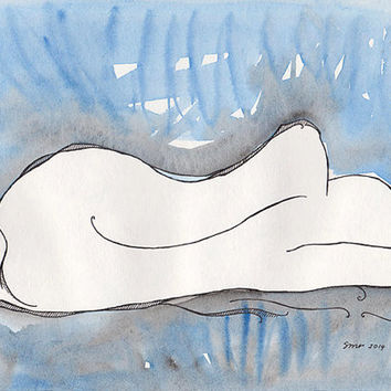 Original artwork. Female nude mixed media drawing. Blue abstract art. Ink and watercolor.