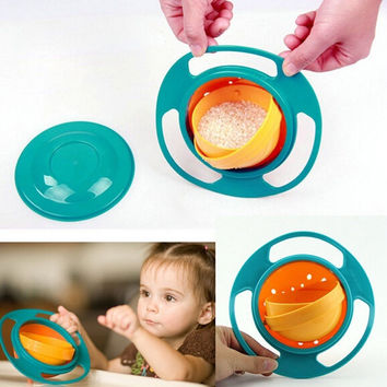 2017 Hot Sale Creative Gyroscope Baby Bowl Non Spill Feeding Toddler Gyro Cereal Bowl 360 Rotating Kids Avoid Food Spilling