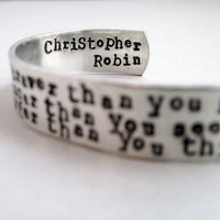 AA Milne Bracelet - You Are Braver - 2-Sided Hand Stamped Aluminum Cuff - customizable