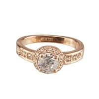 FM42 Round Cut Clear Crystal Vintage Style Engagement Style Ring R45 Size 7