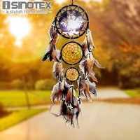 Wolf Totem Indian Dream Catcher Handmade Wall Hanging Pendant 3 Circular Net With Feathers Christmas Decoration New Year Gift