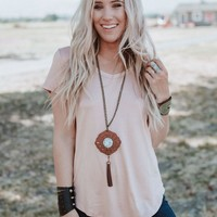 All The Time V Neck Tee - Blush