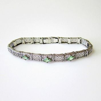 Victorian Sterling Etched Filigree Minty Green Paste Bracelet - Signed and Hallmarked