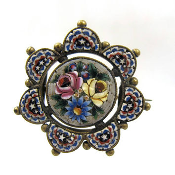 Victorian Micro Mosaic Brooch, Grand Tour Micromosaic Tesserae Mosaic Jewelry, Antique Inlay Flowers Brooch Pin