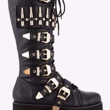 Bully Black Creeper Style Platform Goth Knee Boot Bullet Strap