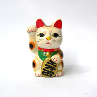 Vintage small white Japanese Maneki-neko lucky cat ceramic figurine piggy bank