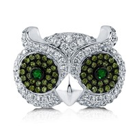 Sterling Silver Cubic Zirconia CZ Owl Ring 1 ct.tw2 Review(s) | Write A ReviewSKU# R862-01